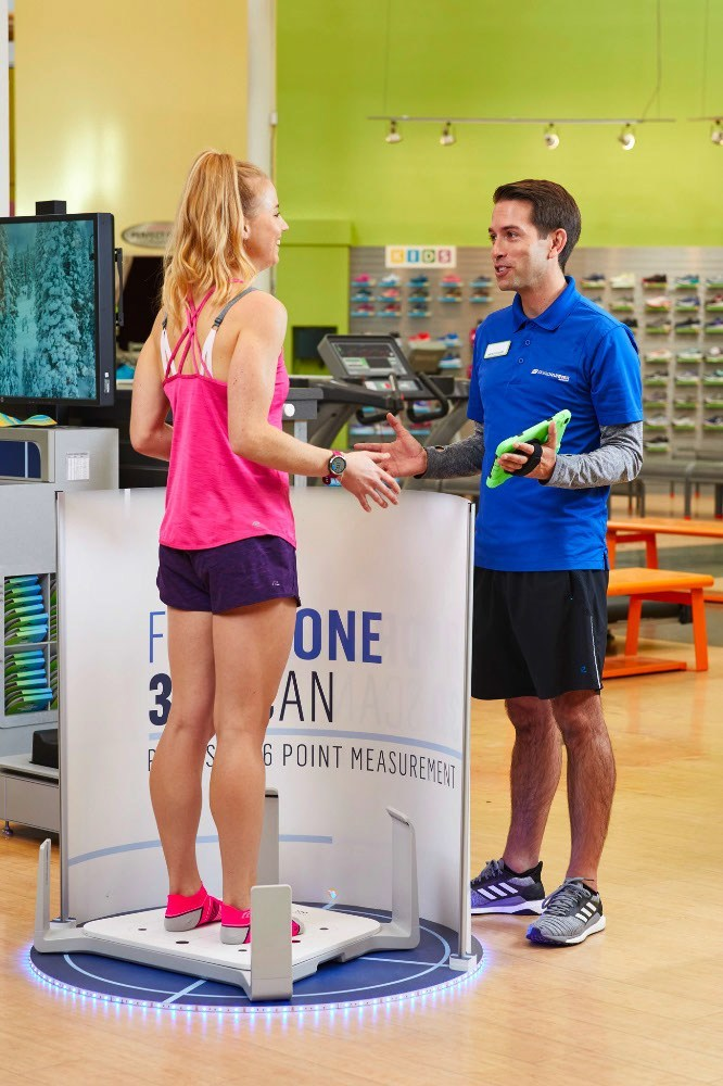 The 3D Fit Drone shoe-fitting technology at Road Runner Sports captures a three-dimensional scan of customers' feet, recording critical foot measurements to help quickly and easily find perfect-fitting shoes for runners and walkers.
