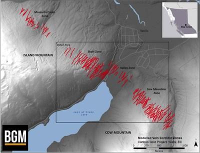 Modelled Vein Corridor Zones Cariboo - Gold Project (CNW Group/Barkerville Gold Mines Ltd.)