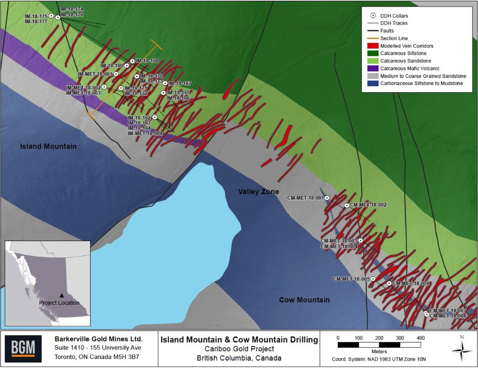 Island Mountain & Cow Mountain Drilling - Cariboo Gold Project (CNW Group/Barkerville Gold Mines Ltd.)