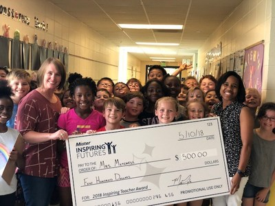 Mrs. Mitchell (right), a third grade teacher at Inverness Elementary School in Birmingham, Alabama, celebrates with her students and administrators upon receiving a grant for her classroom from Mister Car Wash last year. Mrs. Mitchell is one of 30 teachers recognized throughout the US by Mister Car Wash in 2018. Teachers from all communities served by Mister Car Wash are eligible. Online nominations are open February 25, 2019 through April 1, 2019 at www.mistercarwash.com/teacher.