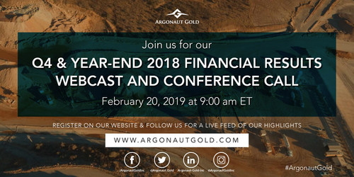 Argonaut Gold Inc. 2018 Q4 & YE Results (CNW Group/Argonaut Gold Inc.)