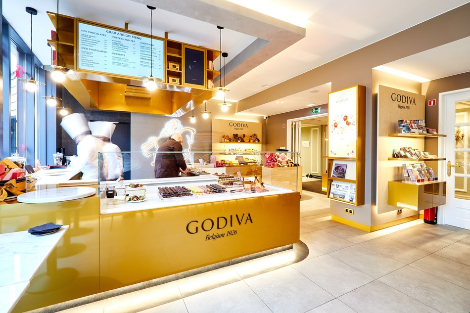 GODIVA Café in Brussels, Belgium. The company plans to roll out 2,000 cafes globally as part of its 5X growth strategy.