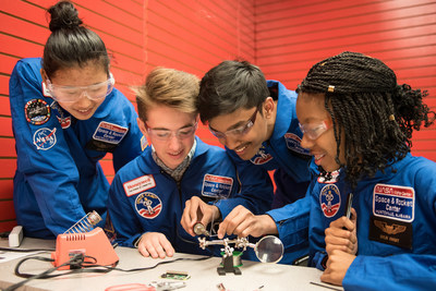 Students between the ages of 16 and 18 develop STEM leadership skills through numerous team-building challenges such as building model rockets, simulated astronaut training and a moonwalk.