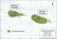 Figure 1 1 BAM Gold Project Pit Optimization Shell (Run 21) versus Pit Design (February 2019) (CNW Group/Landore Resources Limited)