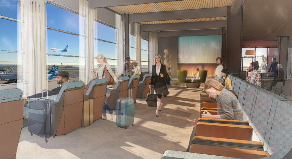 Rendering of new Alaska Lounge at T2, opening in 2020