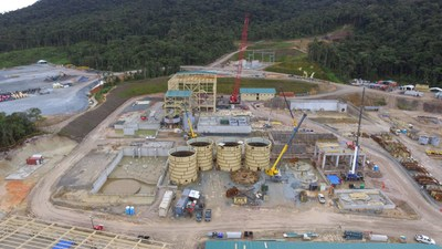 Figure 3. Process plant concrete 62% complete and steel erection 18% complete (CNW Group/Lundin Gold Inc.)
