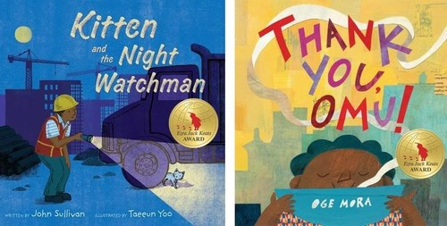 """The 2019 Ezra Jack Keats Award winner for Writer is John Sullivan, for """"Kitten and the Night Watchman"""" (left; published by Simon & Schuster/Paula Wiseman Books). The winner for Illustrator is Oge Mora, for """"Thank you, Omu!"""" (right; published by Little, Brown Books for Young Readers). The EJK Award recognizes talented authors and illustrators early in their careers whose picture books, in the spirit of Keats, portray the multicultural nature of our world."""