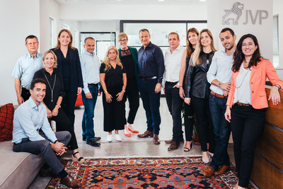 The Jerusalem Venture Partners (JVP) investment team. From right to left: Julia Kagan, Senior Associate; Barrel Kfir, Senior Associate; Michal Drayman, Partner; Tali Rabin, Partner and Chief People Officer; Gadi Porat, Partner and Head of Cyber Labs; Erel N. Margalit, PhD, Founder and Executive Chairman; Fiona Darmon, General Partner & COO; Joy Marcus, Venture Partner; Yoav Tzruya, General Partner; Dana Hyde, Advisor; Rinat Remler, Partner and CFO; Haim Kopans, Partner; Alex Dikman, Senior Associate. Photographer: Kobi Har Tzvi.