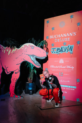 J Balvin with his BUCHANAN'S DeLuxe Blended Scotch Whisky Limited Edition Design Courtesy of Orli Arias