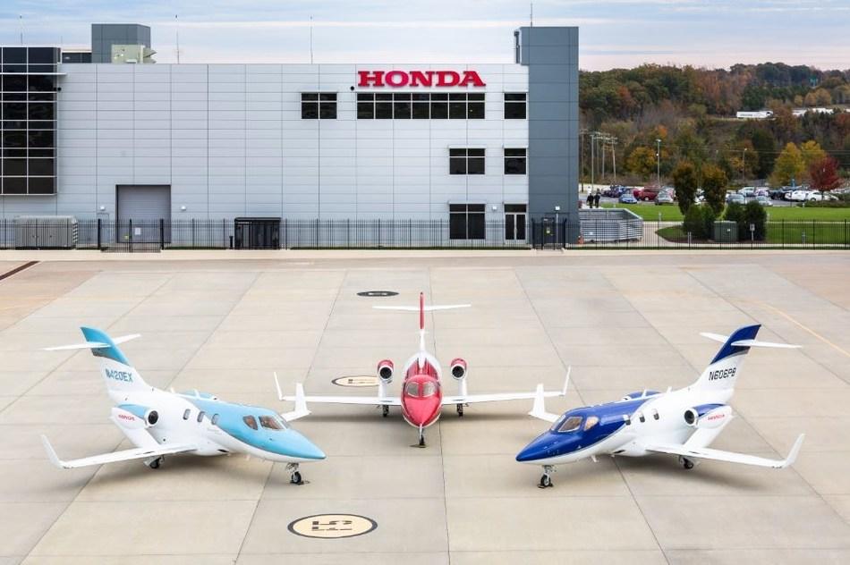 The HondaJet Elite, original HondaJet and HondaJet APMG pictured at Honda Aircraft Company's headquarters in Greensboro, NC.