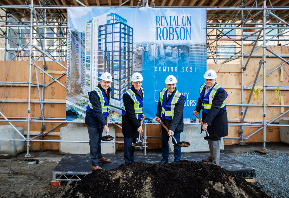 GWL Realty Advisors, joined by Mayor Kennedy Stewart, formally broke ground today on a 21-storey market rental tower at 1500 Robson Street. L-R: Vancouver Mayor Kennedy Stewart; Ralf Dost, GWL Realty Advisors; Steve Marino, GWL Realty Advisors; Jeff Fleming, GWL Realty Advisors. (CNW Group/GWL Realty Advisors)
