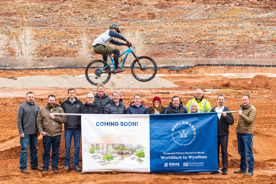 Officials from Wyndham Destinations, Gardiner Properties, and Zwick Construction today celebrated the groundbreaking of a future proposed WorldMark by Wyndham vacation club resort in Moab, Utah. The ceremony featured the adventurous spirit of Moab, with a local cyclist soaring over the new construction site, in a nod to the city's popularity as a mountain biking destination. The new resort is expected to open at the end of 2020.