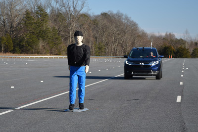 Honda CR-V Pedestrian Detection and Crash Prevention Testing by IIHS. Photo courtesy of IIHS.