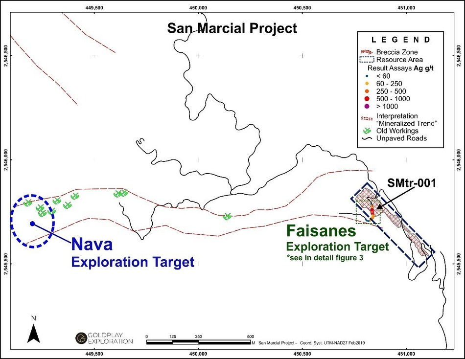 Figure 2 San Marcial - Location of the Nava-Faisanes Targets and Trench SMtr-001 (CNW Group/Goldplay Exploration Ltd)