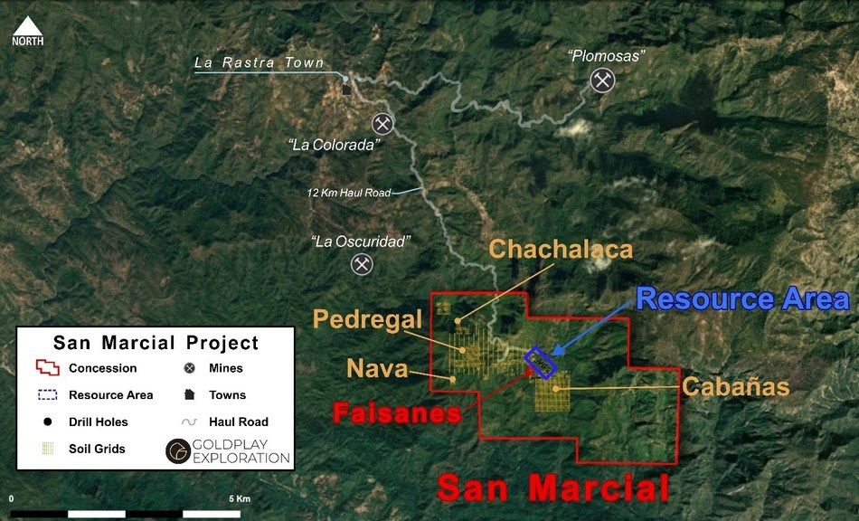 Figure 1 San Marcial - Location of Resource Area and New Targets Inside Concession (CNW Group/Goldplay Exploration Ltd)
