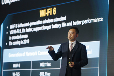 Qiu Heng, President of Global Marketing, Huawei Enterprise Business Group, delivered a keynote speech at the Huawei Pre-MWC19 Media and Analyst Briefing in London, UK, on February 20, 2019.