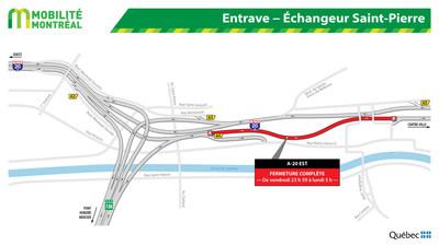Entrave - Échangeur Saint-Pierre (Groupe CNW/Ministère des Transports)