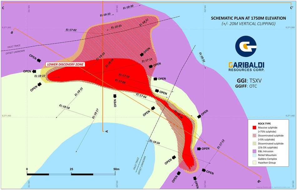 Discovery Zone Schematic 1750M Elevation (CNW Group/Garibaldi Resources Corp.)