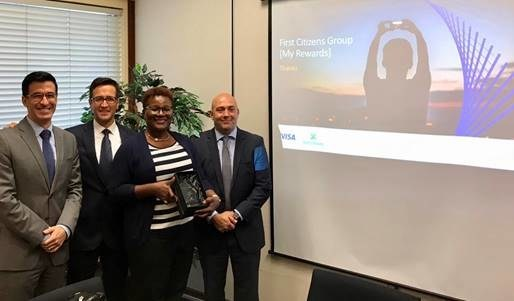From left to right: Jorge Salum, Sr. Director, Business Development, Caribbean for Visa; Jorge Lemus, SVP and Group Country Head, Caribbean and Central America for Visa; Avril Edwards, General Manager of Electronic Banking for First Citizens Group; and Facundo Mendez, Managing Director of Enterprise, Growth & Loyalty for novae.