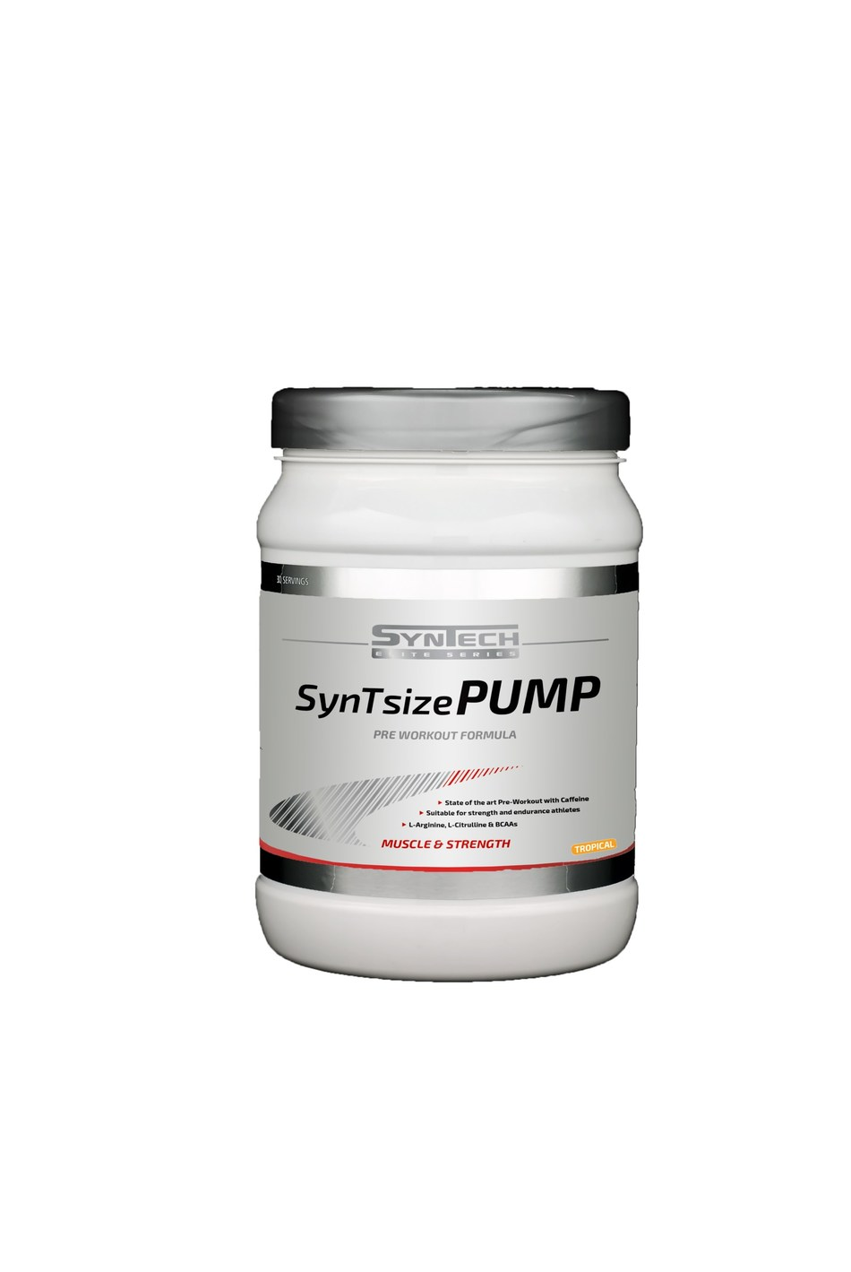 SynTsize Pump is a latest-generation pre-workout product. It includes high dosages of nine active ingredients and contains 2g BCAAs per serving which maintains amino acid levels during training.