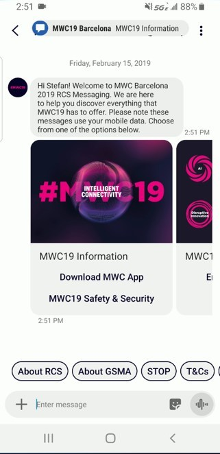 Mobile World Congress Barcelona 2019 RCS Message Powered by 3C.