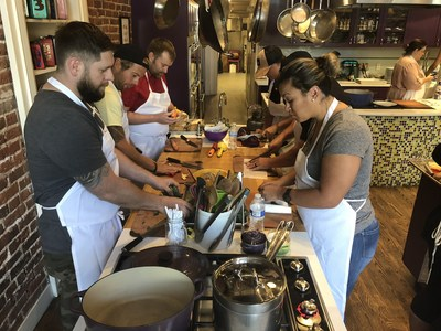 Wounded warriors and their families learned about healthy ways to prepare a meal at a Wounded Warrior Project® (WWP) event. 