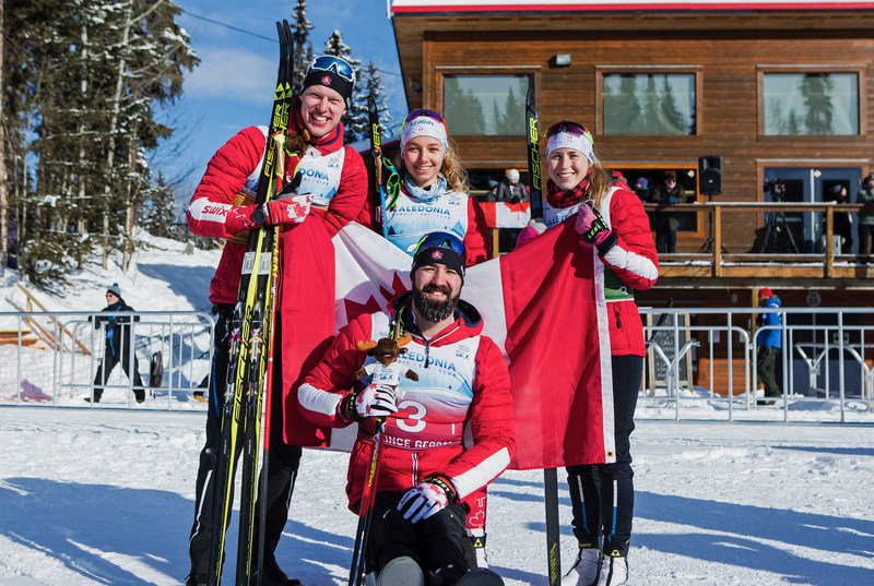 Mark Arendz, Natalie Wilkie, Emily Young, and Collin Cameron teamed up to win silver in the mixed relay at the 2019 World Para Nordic Skiing Championships. PHOTO: Canadian Paralympic Committee (CNW Group/Canadian Paralympic Committee (Sponsorships))