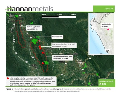 Figure 1 - Hannan's claim applications at the San Martin sediment hosted Cu-Ag project. In combination the total application area now covers 29,800ha and provides Hannan with control of an area exceeding 51km of strike and up to 7km width over two anticlinal trends. (CNW Group/Hannan Metals Ltd.)