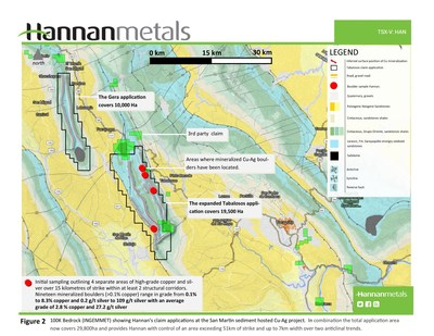 Figure 2 - 100K Bedrock (INGEMMET) showing Hannan's claim applications at the San Martin sediment hosted Cu-Ag project. In combination the total application area now covers 29,800ha and provides Hannan with control of an area exceeding 51km of strike and up to 7km width over two anticlinal trends. (CNW Group/Hannan Metals Ltd.)