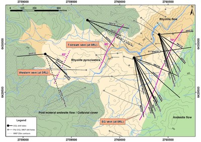 Figure 2 – Plan View of geology and distribution of known major veins at WKP. (CNW Group/OceanaGold Corporation)