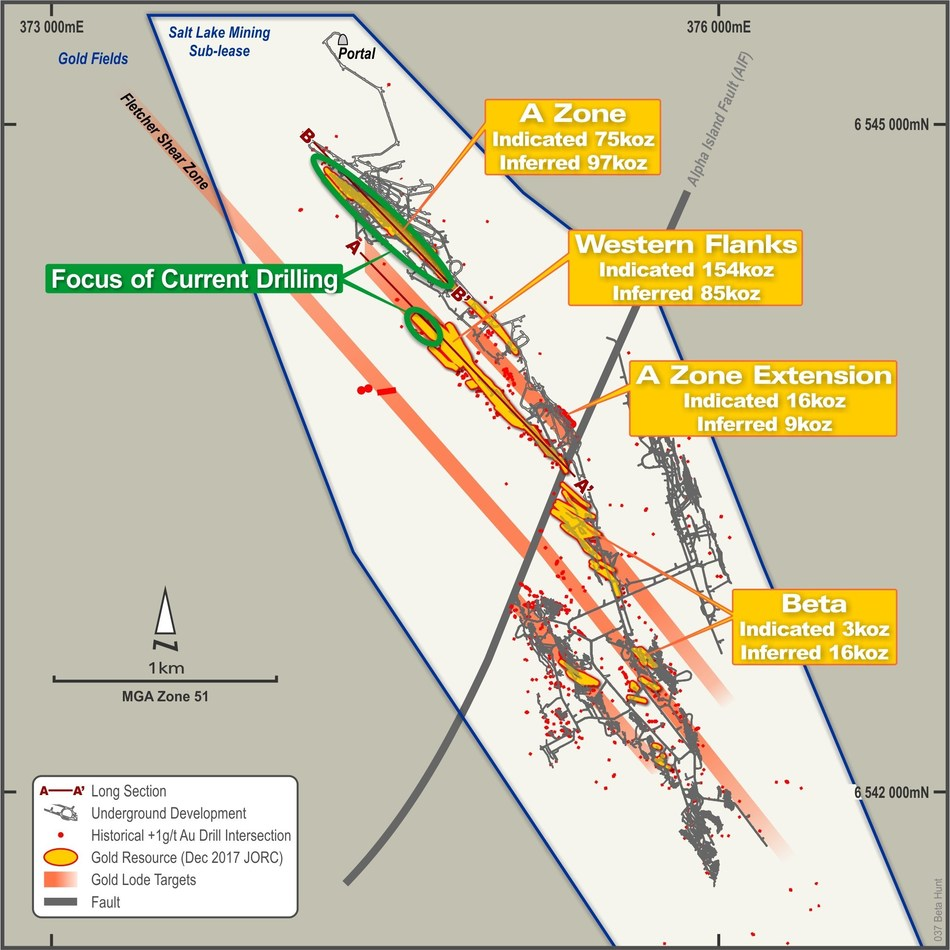 Figure 1 – Plan View of Beta Hunt Sub-lease showing focus of recent drill campaign and location of A Zone and Western Flanks long sections. (CNW Group/RNC Minerals)