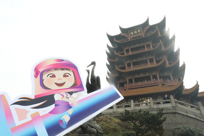 Wuhan citizens cheer for One Small Step for the Academy Award nomination at Yellow Crane Tower, a landmark of the city.