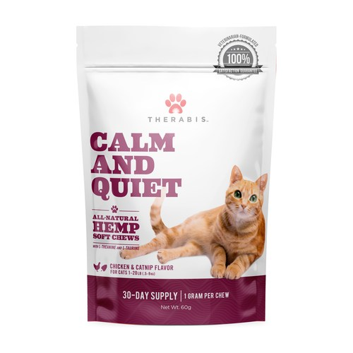 Therabis Calm and Quiet is a CBD-infused soft-chew cat treat that promotes stress relief. (CNW Group/Dixie Brands, Inc.)