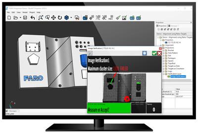 O FARO BuildIT Projector e o FARO TracerSI Imaging Laser Projector indicam a presença de detritos de objetos estranhos durante uma inspeção pós-montagem.