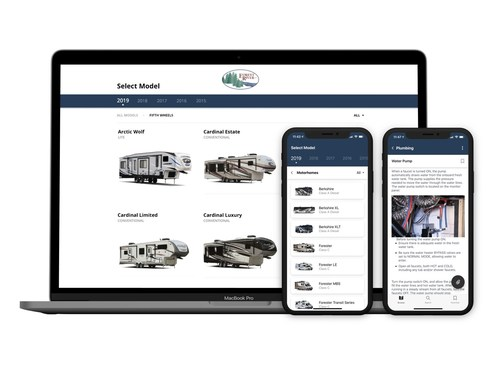 The new Forest River app makes it easy for owners to find out what they need to know about their RV, boat or trailer. Customers can even access support information for specific third-party add-ons and accessories.