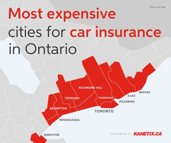 Most expensive cities for car insurance in Ontario. (CNW Group/Kanetix)