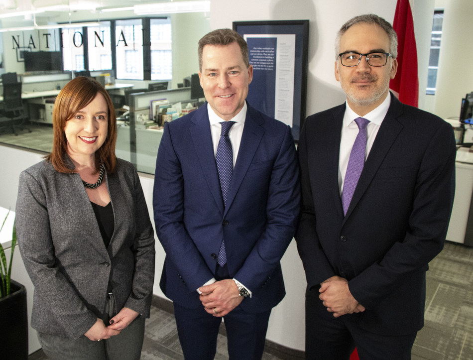From left to right: Chrystiane Mallaley, Vice-President; Gordon Taylor Lee, Managing Partner; Jean Michel Laurin, Vice President. Missing from the photo: Marc Desmarais, Vice President. (CNW Group/NATIONAL Public Relations)