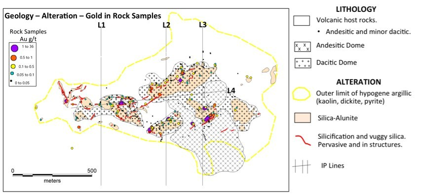 Figure 2 Location of IP lines with sampling distribution and geology (CNW Group/Sable Resources Ltd.)
