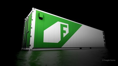 Exterior of Freight Farms' Greenery: now made from purpose-built freight containers with all-weather paint, premium metalwork, and superior manufacturing.