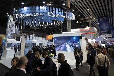 Joint booth of Whale Cloud and Alibaba Cloud at MWC 2019