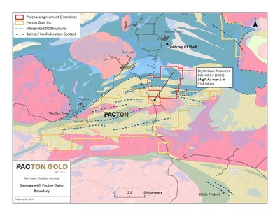 Figure 1. Location map of mineral claims acquired by Pacton Gold (red outline). (CNW Group/Pacton Gold Inc.)
