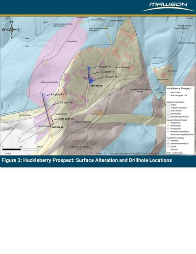 Figure 3: Huckleberry Prospect: Surface Alteration and Drillhole Locations (CNW Group/Mawson Resources Ltd.)