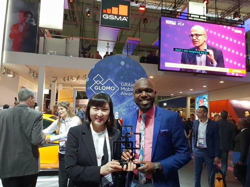 SK Telecom, the largest mobile operator in Korea, today announced that the company's 'AI-based Media Recommendation Technology' won the 'Best Mobile Video Content Service' category of the GSMA Global Mobile Awards (GLOMO Awards) 2019, held as part of MWC Barcelona. The 'Best Mobile Video Content Service' category is presented to the most compelling video service and technology. (Left) Jeon Jin-soo, VP and Head of Media Labs of SK Telecom, (Right) Larry Madowo, host at 2019 GLOMO Awards.