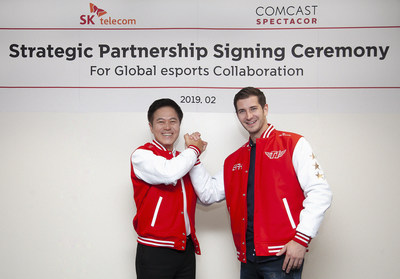 SK Telecom, the largest mobile operator in Korea, today announced that it signed a strategic partnership agreement with Comcast Spectacor, a professional sports and live entertainment company to cooperate in the esports business, such as joint operation of global esports teams and development of esports content. (Left) Park Jung-ho CEO and President of SK Telecom (Right) Tucker Roberts the president of Spectacor Gaming division of Comcast Spectacor.