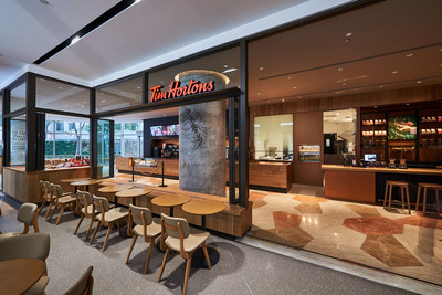 Tim Hortons opens its first restaurant in Shanghai, China, embracing an iconic Canadian look and feel. (CNW Group/Tim Hortons)