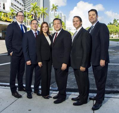 The Polsinelli Miami team (from left to right): Brian Seidenberg, Michael Gennett, Marisa Rodriguez Wilson, J. Everett Wilson, Milton Vescovacci and James Barnett