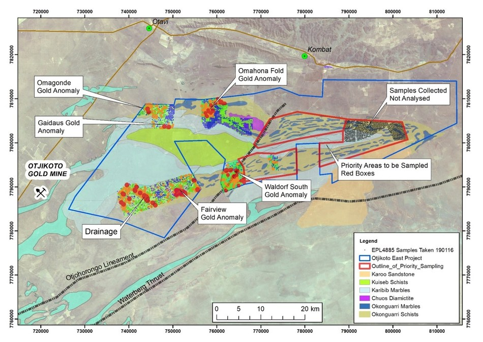 Osino Resources Announces Three New Gold Anomalies and Provides Exploration Update on Its Otjikoto East Project, Namibia (CNW Group/Osino Resources Corp.)