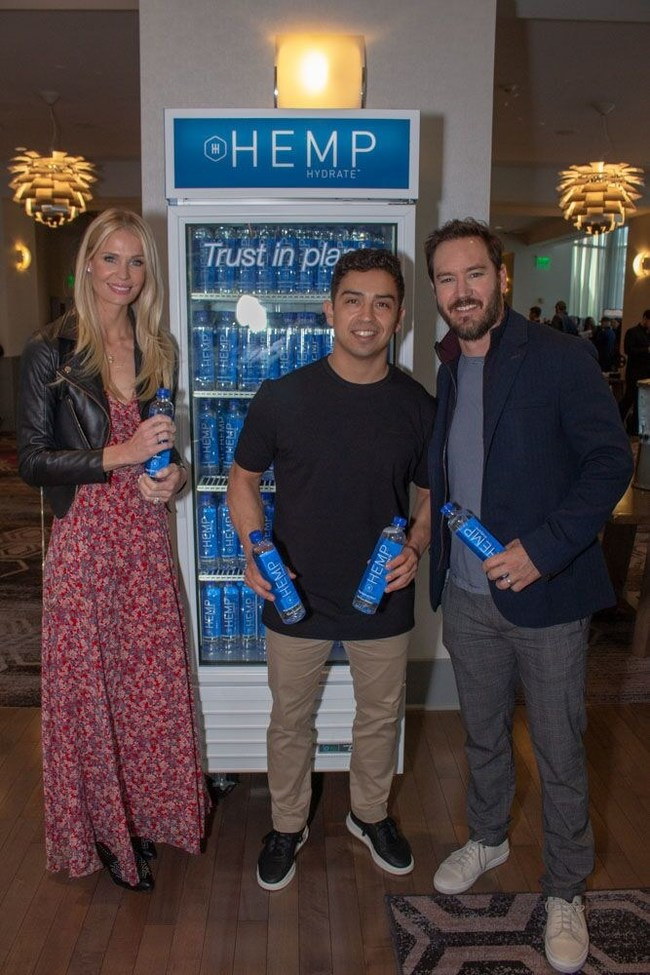 Mark-Paul Gosselaar and wife Catriona McGinn with HEMP Hydrate's Daniel Rodriguez