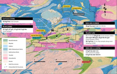 Figure 1. Geological map of the Pacton Gold's Red Lake property showing locations of historical gold values. (CNW Group/Pacton Gold Inc.)