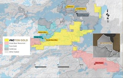 Figure 2. Pacton Gold's Red Lake property showing location of other major projects in the district. (CNW Group/Pacton Gold Inc.)